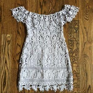 ASTR Lilac Crochet Lace Mini Dress -M-